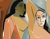 "Picasso Les Demoiselles D'Avignon .""Reproduction"""