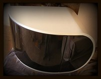Curved bathroom furniture, manufactured by Radu Man