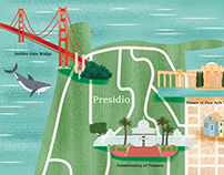 Illustrated maps of San Francisco and Melbourne