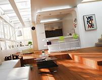 Interior design-living and kitchen room