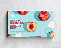 Free Wall Advertising Billboard Mockup