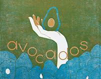 California Avocados Linocut
