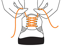 Orange shoelaces