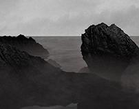 Roche noire dans la mer