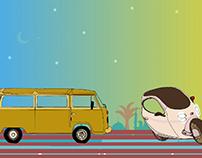 Bus&Bicycle Illustration