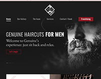 Landing page for imaginary barber shop.