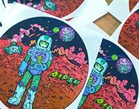 「迷失的宇航員」貼紙設計 | The Lost Astronaut, sticker