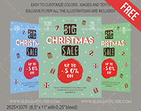 Big Christmas Sale – Free Flyer PSD Template + Facebook