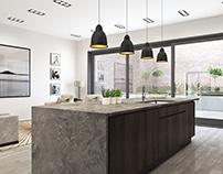 Handle-less kitchen CGI