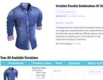 eCommerce or WooCommerce Product Table Variations