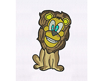 ZANY AND PECULIAR BLUE EYED LION EMBROIDERY DESIGN