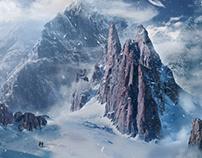 Snowy peaks - matte painting
