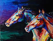 Кони / Horses 100х80