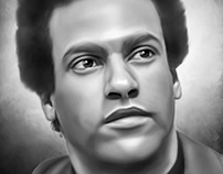 Dr Huey P Newton Digital Oil Painting by Wayne Flint