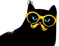 Black cat with yellow glasses and moustache