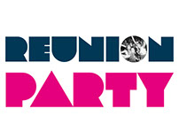 Reunion party logo and coffee cup