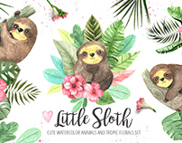 Watercolor Little Sloth and Tropic Florals