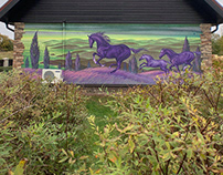 """Mural """"Calm with horses"""""""