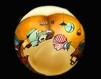 Illustration of Fisheyed Kitchen using Corel Painter