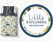 Little explorers. Pattern. Prints. Clipart.