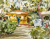 Cauley Square - Latin Corner Juice Bar Watercolor