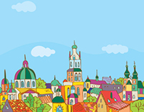 Banner of Lviv cityscape (for the Svitoch factory)