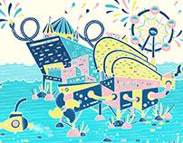 Aqua Theme Park Illustration