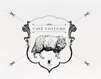 Café Costume / hand painted window decoration