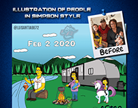 Simpson style characters: vacation with grandparents