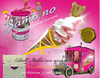 Brochure with illustrations for Italian ice cream brand