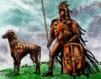 Fionn Mac Cumhaill, Bran and Sceolan.