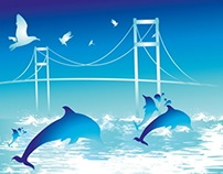 dolphins and birds vector art