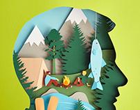 Paper art illustration for Free Men's World Magazine