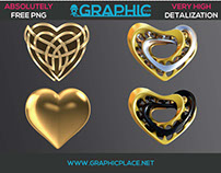 Gold Hearts - Free PNG