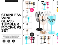 Stainless Wine Glass Tumblers Mock-ups Set