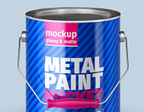 Metal Paint Bucket Mock-Ups