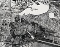 飞翔 Fly 70x240cm 铅笔,画布pencil on canvas