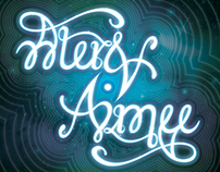 """Alex & Aimee"" Ambigram Print in Frame"