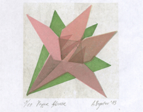 Paper flower. Linocut. 2013
