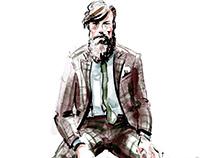 Brown window pane suit - menswear illustration