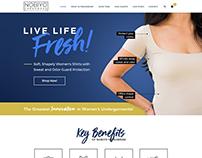 Website design for women's inner shirt brand.