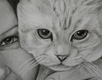 Portrait of a girl with a cat