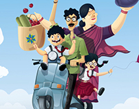 Family on scooter vector illustration