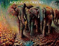 Elephants                   Acrylic on canvas