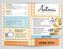 Antonia Trattoria » diseño de menú y folletos