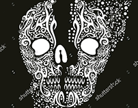 textile tattoo tribal skull graphic design vector art