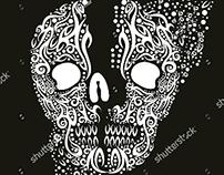 textile tattoo tribal skull graphic design vector art