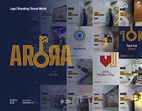 ArorA Builders real estate logo, branding, social media