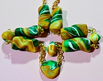 Gold, jade green, citrine polymer clay beads