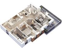 Apartment 3D floor plans